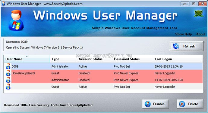 Windows User Manager