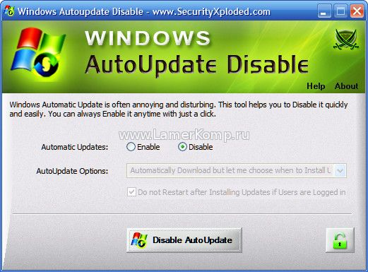 Windows AutoUpdate Disable