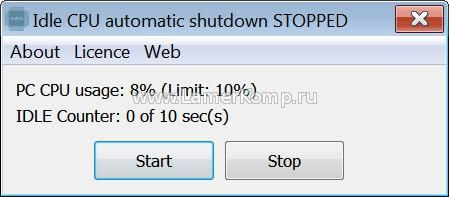 Idle CPU Automatic Shutdown