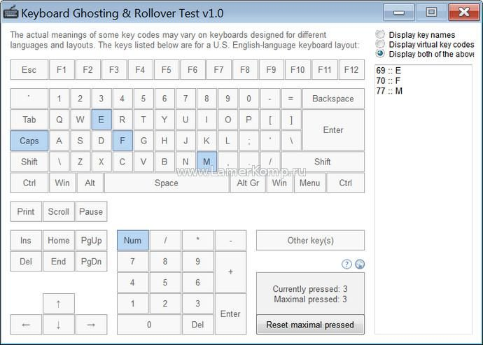Keyboard Ghosting & Rollover Test