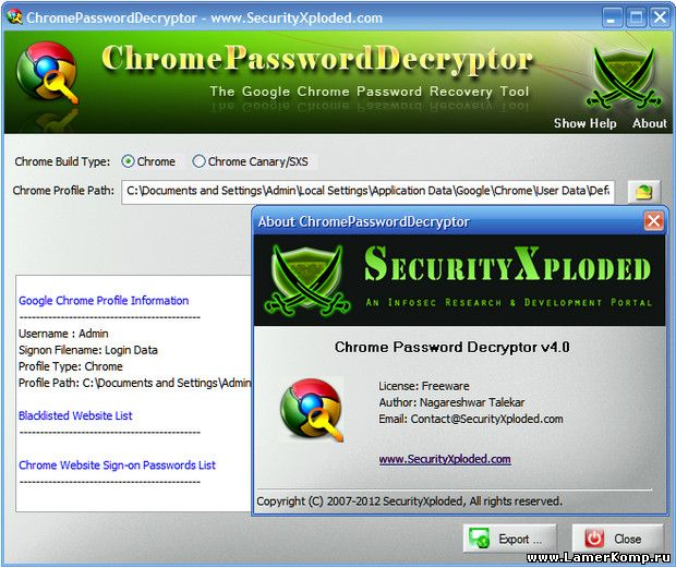 Chrome Password Decryptor